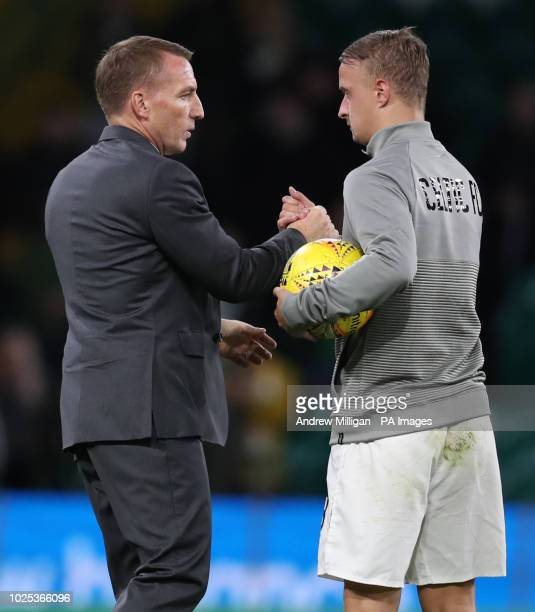 Celtic's Leigh Griffiths with manager Brendan Rodgers after the UEFA Europa League PlayOff Second Leg match at Celtic Park Glasgow