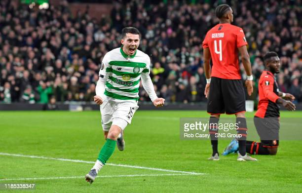 Celtic's Lewis Morgan celebrates after he makes it 1-0 during the UEFA Europa League Group E match between Celtic and Stade Rennes at Celtic Park on...