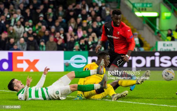 Celtic's Lewis Morgan is challenged by Rennes goalkeeper Edouard Mendy and appeals for a penalty during the UEFA Europa League Group E match between...