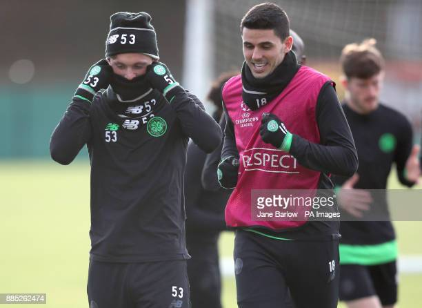 Celtic's Liam Henderson and Tom Rogic during the training session at Lennoxtown Glasgow