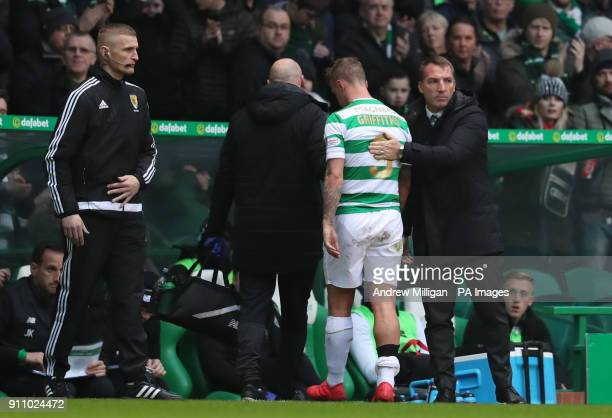 Celtics manager Brendan Rodgers as Leigh Griffiths goes off injured during the Ladbrokes Scottish Premiership match at Celtic Park Glasgow