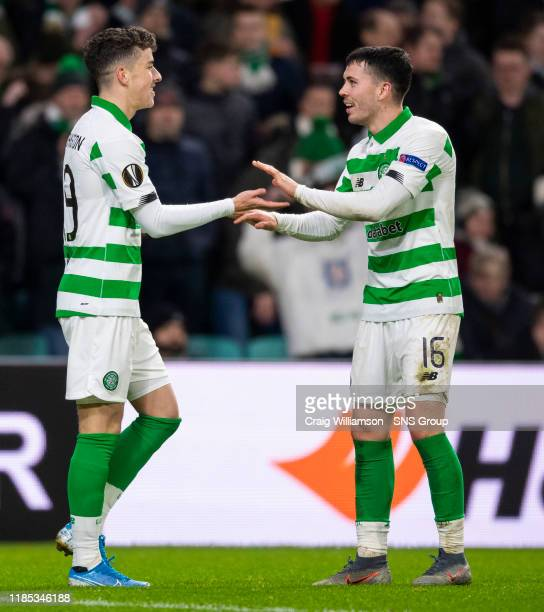 Celtic's Mikey Johnston celebrates his goal with Lewis Morgan during the UEFA Europa League Group E match between Celtic and Stade Rennes at Celtic...