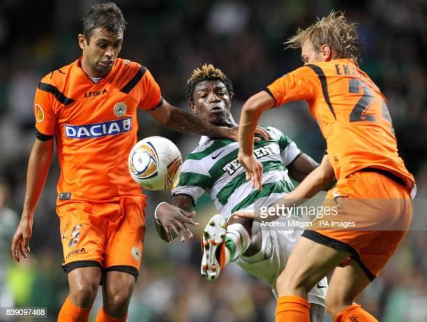 Celtic'S Mohamed Bangura challenges Udinese's Danilo Larangeira and Lars Joel Ekstrand during the UEFA Europa League match at Celtic Park Glasgow
