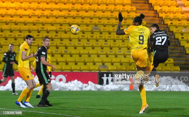 Celtic's Mohamed Elyounoussi makes it 1-1 during a Scottish Premiership match between Livingston and Celtic at the Tony Macaroni Arena, on January 20...