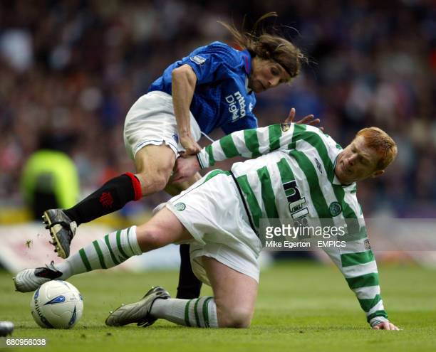 Celtic's Neil Lennon battles for the ball with Rangers' Claudio Caniggia