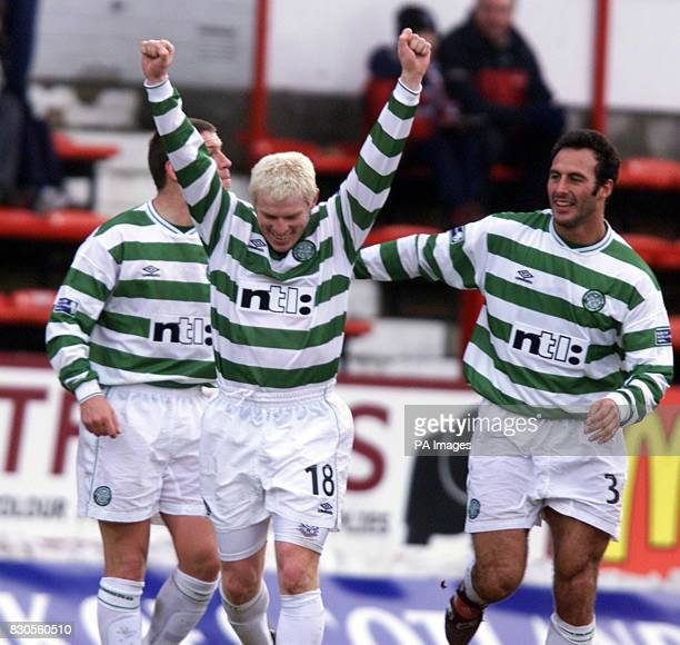 Celtic's Neil Lennon celebrates his goal against Dunfermline with team mates Alan Thompson and Ramon Vega during their Scottish Premier League...