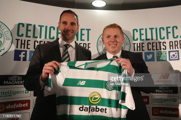 Celtic's new interim manager Neil Lennon is unveiled with his assistant John Kennedy at Celtic Park on February 27 2019 in Glasgow Scotland