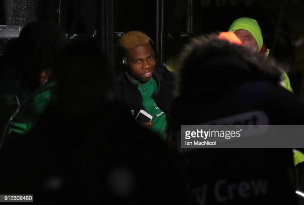 Celtic's new loan signing Charly Musonda arrives at the stadium prior to the Scottish Premier League match between Celtic and Heart of Midlothian at...