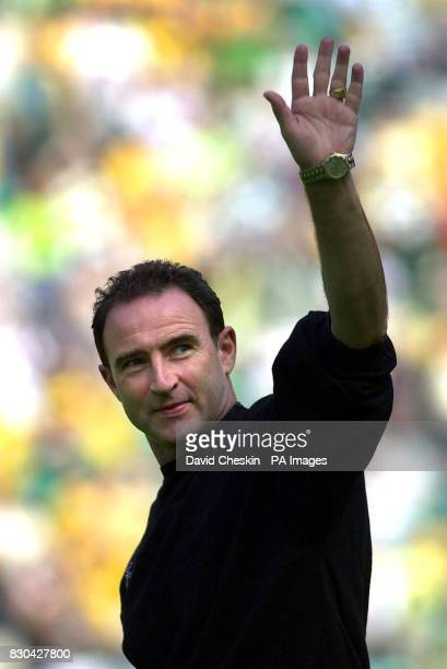 Celtic's new manager Martin O'Neill waves to the crowd before their game against Bordeaux in their preseason friendly at the Park head stadium in...