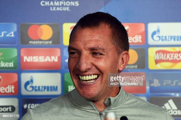 Celtic's Northern Irish manager Brendan Rodgers attends a press conference following a training session at the Celtic Training Centre in Lennoxtown...