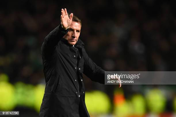 Celtic's Northern Irish manager Brendan Rodgers gestures at the final whistle during the UEFA Europa League football match between Celtic and Zenit...