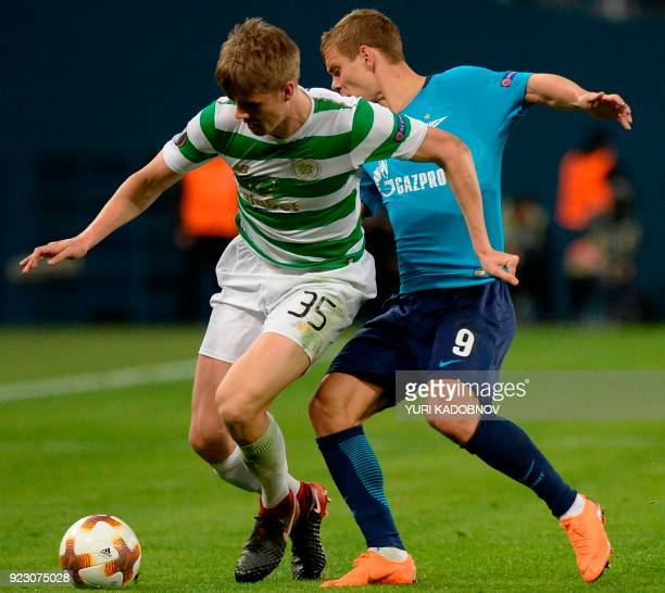 Celtic's Norwegian midfielder Kristoffer Ajer fights for the ball with Zenit St Petersburg's forward from Russia Alexander Kokorin during the Europa...
