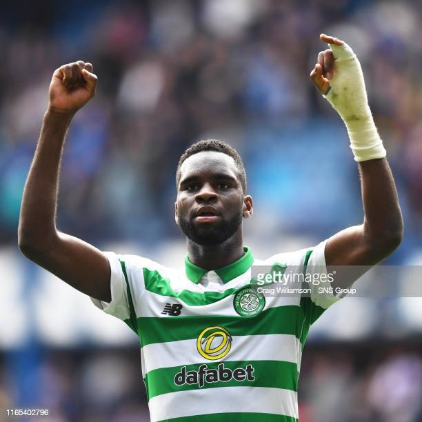 Celtic's Odsonne Edouard celebrates at full time during the Ladbrokes Premier match between Rangers and Celtic at Ibrox Stadium, on September 1 in...