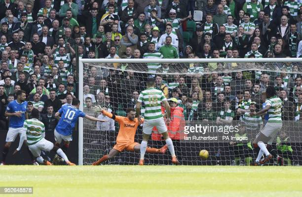 Celtic's Odsonne Edouard scores his side's first goal of the game during the Ladbrokes Scottish Premiership match at Celtic Park Glasgow