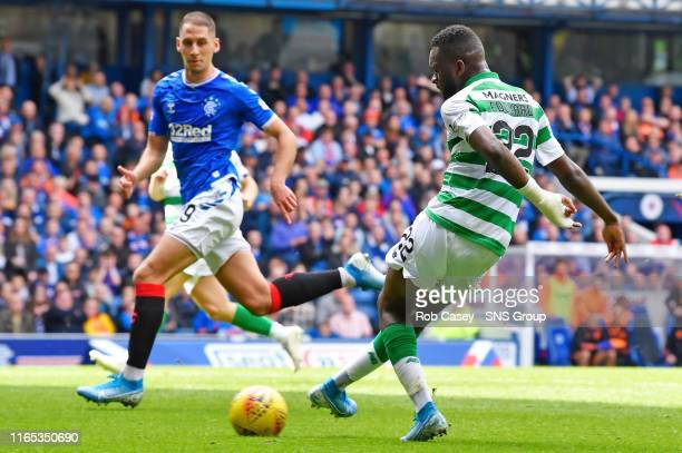 Celtic's Odsonne Edouard slots home the opener during the Ladbrokes Premier match between Rangers and Celtic at Ibrox Stadium, on September 1 in...