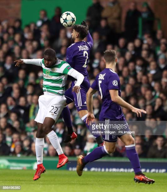 Celtic's Olivier Ntcham and Anderlecht's Humberto Josue Sa battle for the ball during the UEFA Champions League match at Celtic Park Glasgow