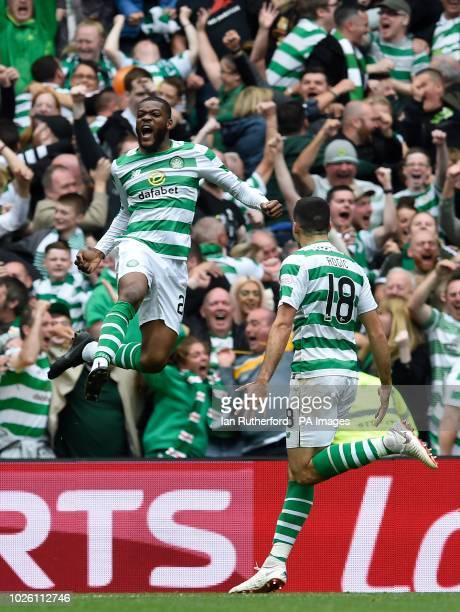 Celtics Olivier Ntcham celebrates with Celtics Tom Rogic after scoring the first goal during the Ladbrokes Scottish Premiership match at Celtic Park...