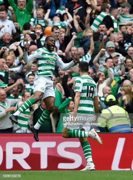 Celtics Olivier Ntcham celebrates with Tom Rogic after scoring the first goal during the Ladbrokes Scottish Premiership match at Celtic Park Glasgow