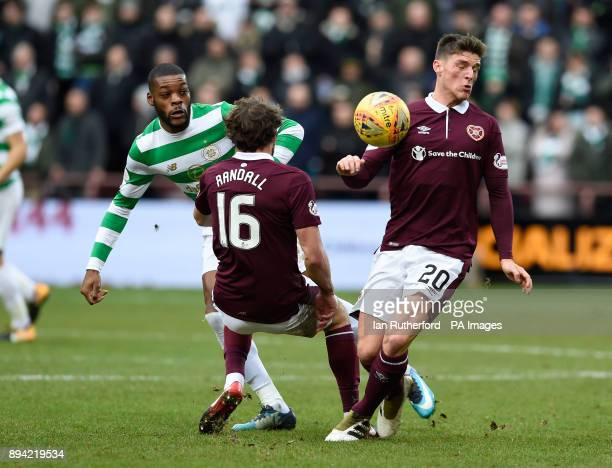 Celtic's Olivier Ntcham Hearts Connor Randall and Hearts Ross Callaghan during the Ladbrokes Scottish Premiership match at Tynecastle Stadium...