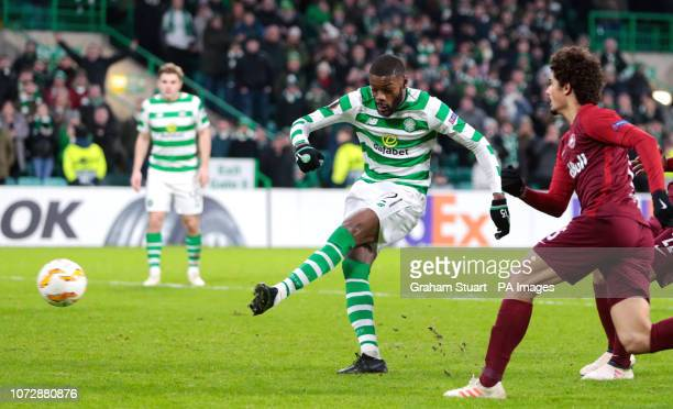 Celtic's Olivier Ntcham scores his side's first goal of the game during the UEFA Europa League Group B match at Celtic Park Glasgow