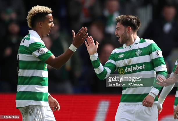 Celtic's Patrick Roberts celebrates scoring his side's second goal of the game with Scott Sinclair during the Ladbrokes Scottish Premiership match at...
