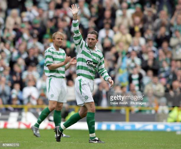 Celtic's Paul Lambert waves to the fans