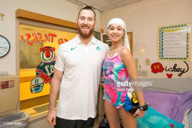 Celtics Player Aron Baynes visits Liyana at Boston Children's Hospital on February 19 2019 in Boston Massachusetts