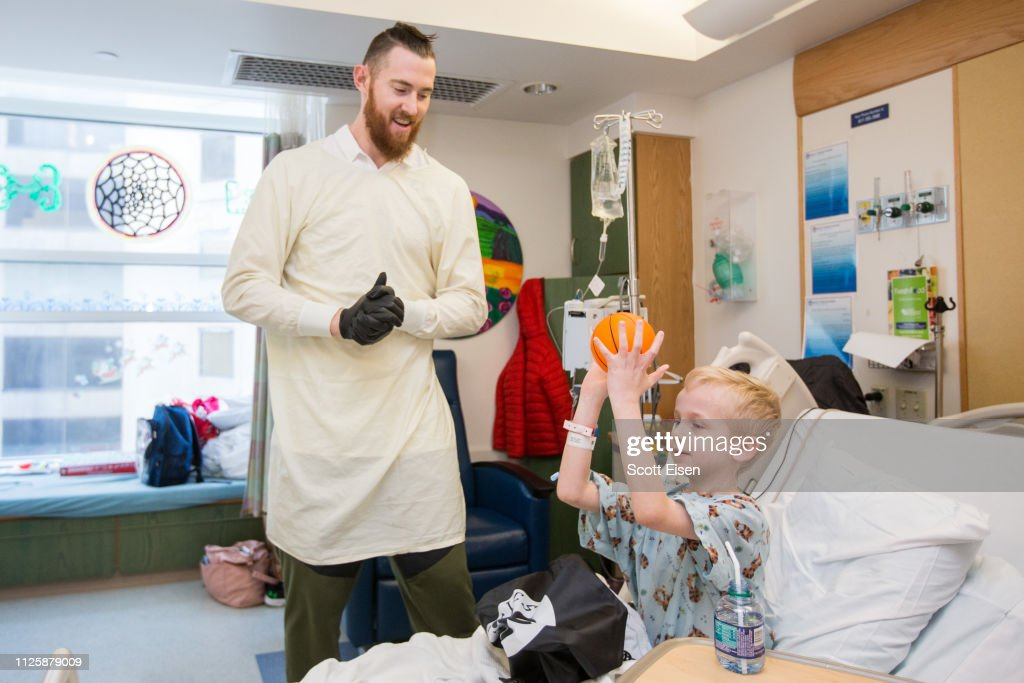 Celtics Player Aron Baynes Visits Patients At Boston Children's Hospital : News Photo