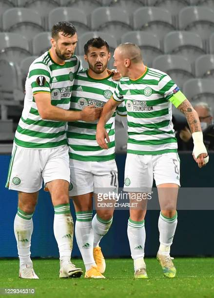Celtic's players celebrate after scoring a goal during the UEFA Europa League Group H football match between Lille and Celtic on October 29, 2020 at...