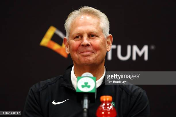 Celtics President of Basketball Operations Danny Ainge reacts during a press conference introducing Kemba Walker , and Enes Kanter at the Auerbach...