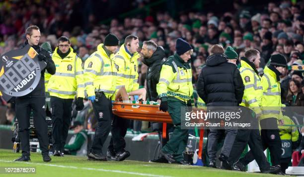 Celtic's Ryan Christie is stretchered off the pitch during the UEFA Europa League Group B match at Celtic Park Glasgow