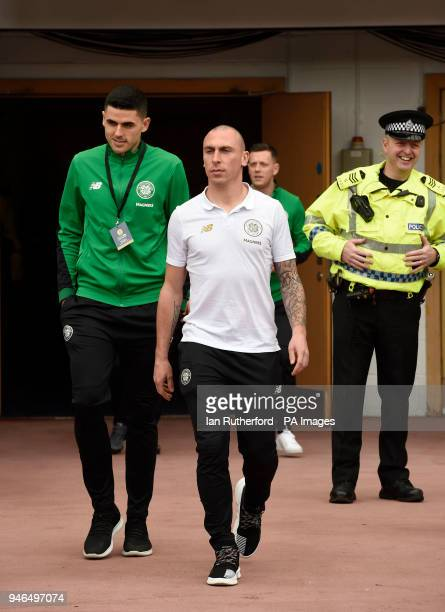 Celtics Scott Brown and Celtics Tomas Rogic before the William Hill Scottish Cup semi final match at Hampden Park Glasgow