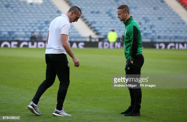 Celtic's Scott Brown and Leigh Griffiths before the Betfred Cup Final at Hampden Park Glasgow