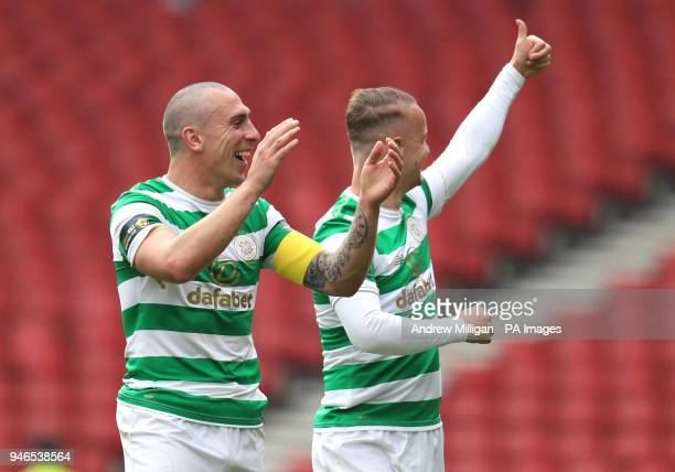Celtic's Scott Brown and Leigh Griffiths celebrate after the William Hill Scottish Cup semi final match at Hampden Park Glasgow