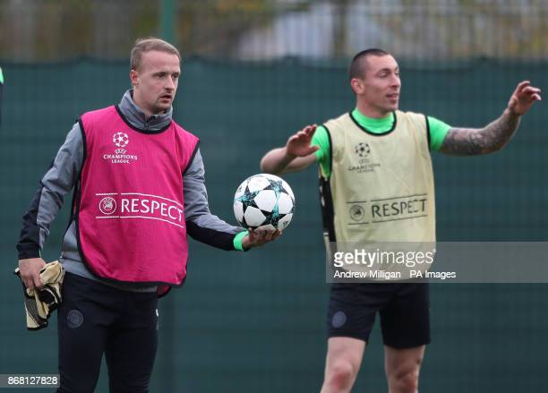 Celtics Scott Brown and Leigh Griffiths during the training session at Lennoxtown Glasgow