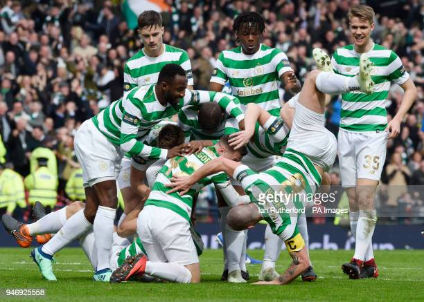 Celtic's Scott Brown falls over during the celebration after Celtic's Tomas Rogic scored the opening goal during the William Hill Scottish Cup semi...