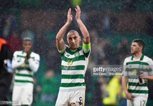 Celtics Scott Brown is pictured at full time of the UEFA Europa League Group E match between Celtic and CFR Cluj at Celtic Park on October 03 in...
