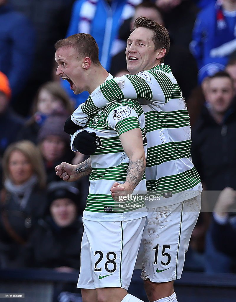 Celtic's Scottish forward Leigh Griffiths celebrates after he scores with team mate Kris Commons during the Scottish League Cup Semi-Final football match between Celtic and Rangers at Hampden Park on February 01, 2015 in Glasgow, Scotland.