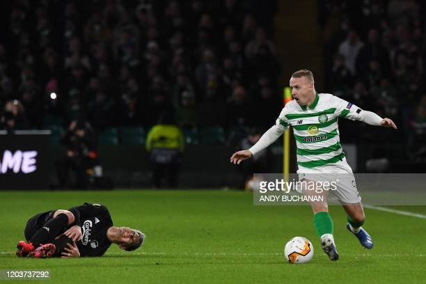 Celtic's Scottish forward Leigh Griffiths reacts during the UEFA Europa League round of 32 second leg football match between Celtic and Copenhagen at...