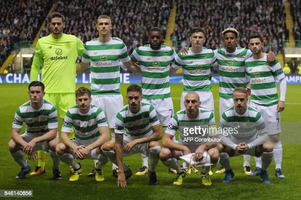 Celtic's Scottish goalkeeper Craig Gordon Celtic's Croatianborn Bosnian defender Jozo Simunovic Celtic's French midfielder Olivier Ntcham Celtic's...