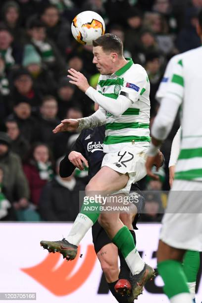 Celtic's Scottish midfielder Callum McGregor heads the ball during the UEFA Europa League round of 32 second leg football match between Celtic and...