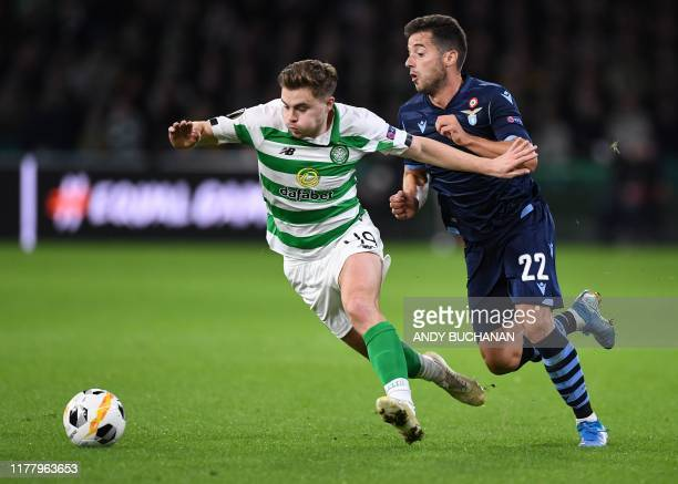 Celtic's Scottish midfielder James Forrest vies with Lazio's Spanish midfielder Jony during the UEFA Europa League group E football match between...