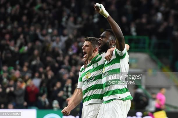 Celtic's Scottish midfielder Ryan Christie celebrates scoring the equalising goal with Celtic's French forward Odsonne Edouard during the UEFA Europa...
