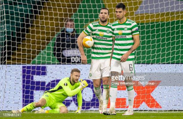 Celtic's Shane Duffy are Nit Bitton are dejected as their side concede a 4th during the UEFA Europa League match between Celtic and Sparta Prague at...