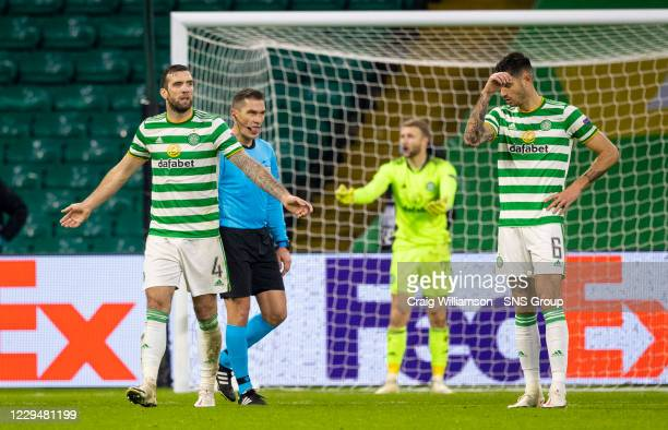 Celtic's Shane Duffy is dejected as his side concede a 4th during the UEFA Europa League match between Celtic and Sparta Prague at Celtic Park, on...