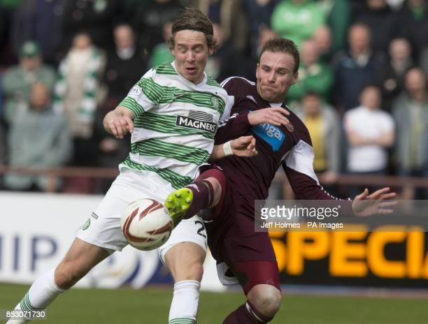 Celtic's Teemu Pukki and Heart of Midlothian's Ryan Stevenson during the Scottish Premier League match at Tynecastle Stadium Edinburgh