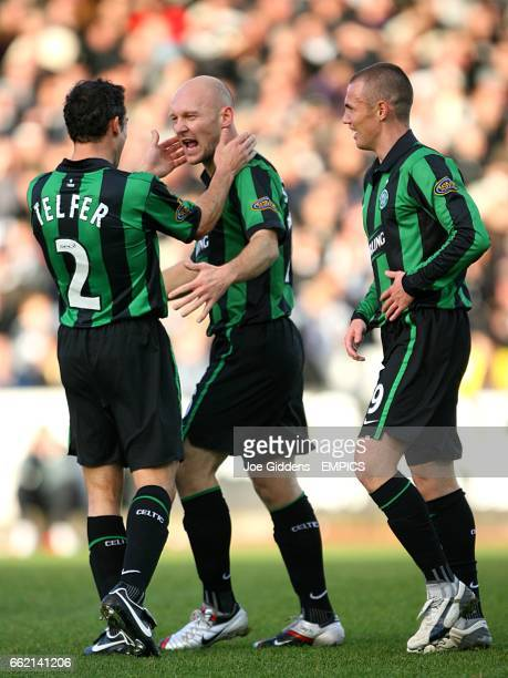 Celtic's Thomas Gravesen celebrates scoring his sides second goal of the game with Paul Telfer and Kenny Miller