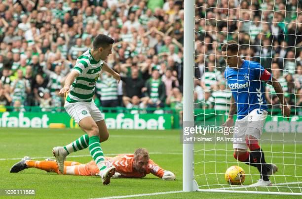 Celtic's Tom Rogic and Rangers James Tavernier during the Ladbrokes Scottish Premiership match at Celtic Park Glasgow