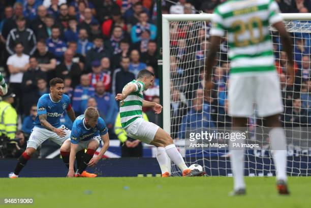 Celtic's Tom Rogic scores his side's first goal of the game during the William Hill Scottish Cup semi final match at Hampden Park Glasgow