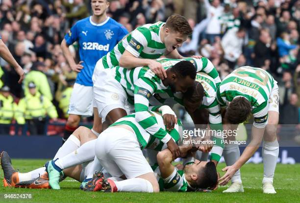 Celtics Tomas Rogic celebrates scoring his side's first goal of the game during the William Hill Scottish Cup semi final match at Hampden Park Glasgow